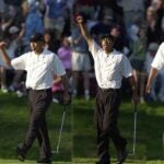 tiger woods celebrates putt players championship