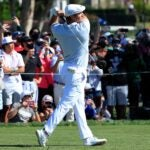 Bryson DeChambeau hits a drive at Bay Hill.