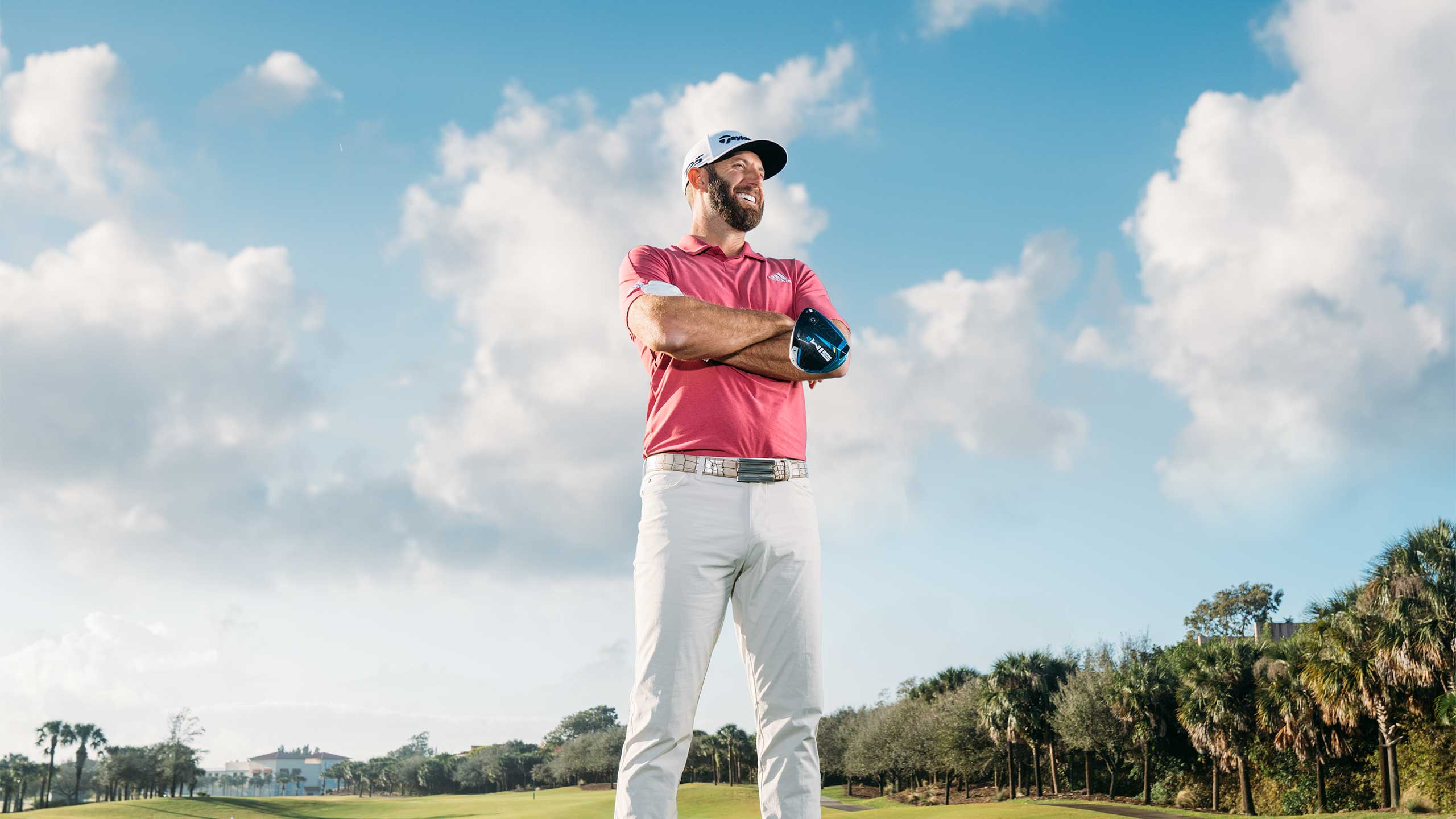 Dustin Johnson poses for a photo.