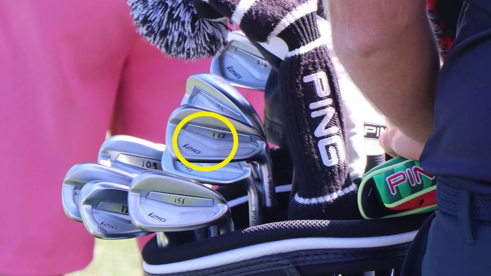 Close-up of Lee Westwood's irons