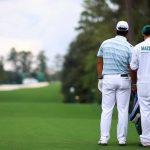 Hideki Matsuyama stared down the tee shot on 18 Saturday.
