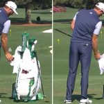 Dustin Johnson practices at Augusta National