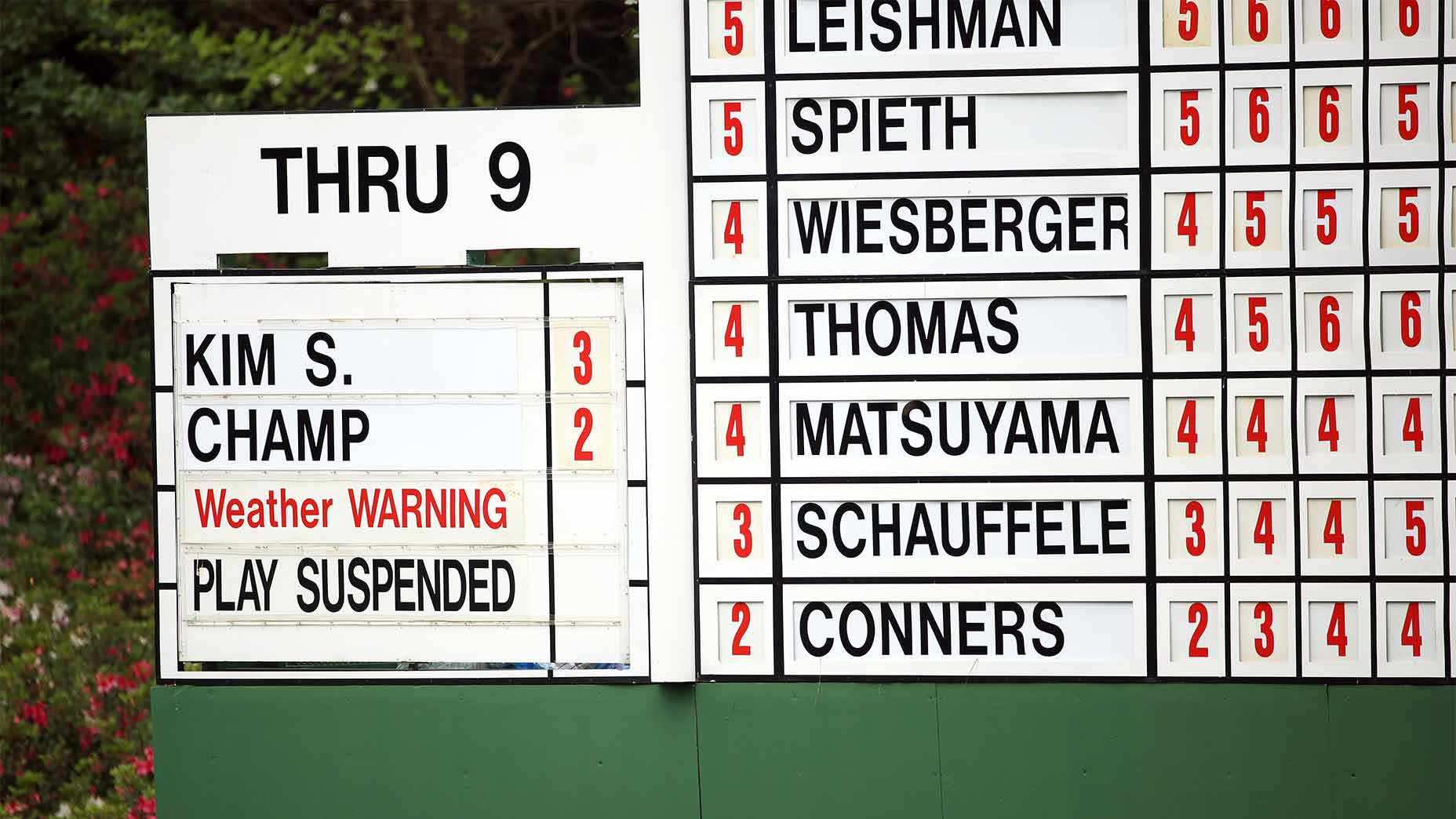 The leaderboard at the masters.