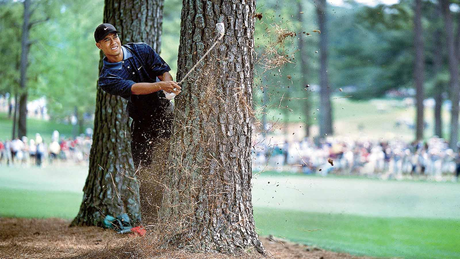 Tiger gets out of trouble during the third round of the 2001 Masters.