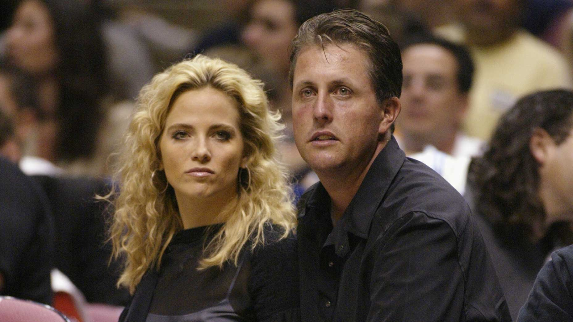 Amy and Phil Mickelson at Continental Airlines Arena in East Rutherford, N.J., during the 2002 NBA Finals.