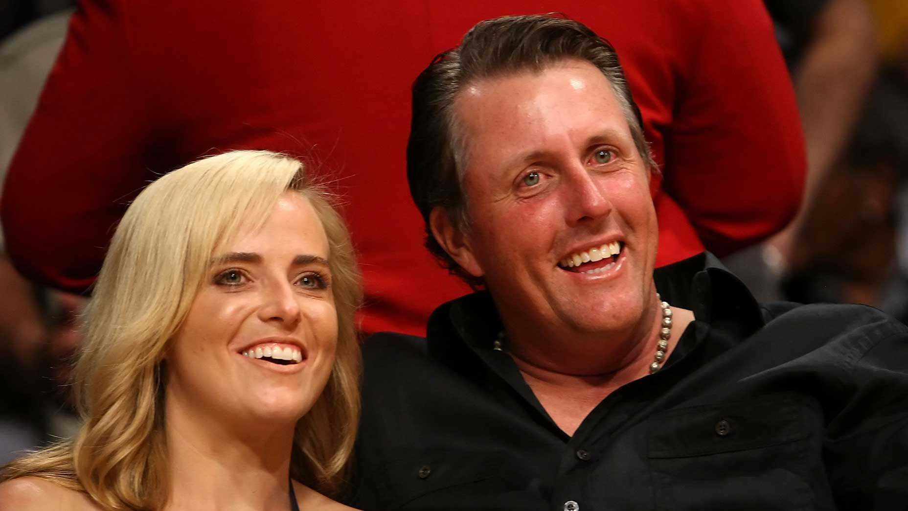 Amy and Phil Mickelson at Staples Center in Los Angeles during the 2009 Western Conference finals.