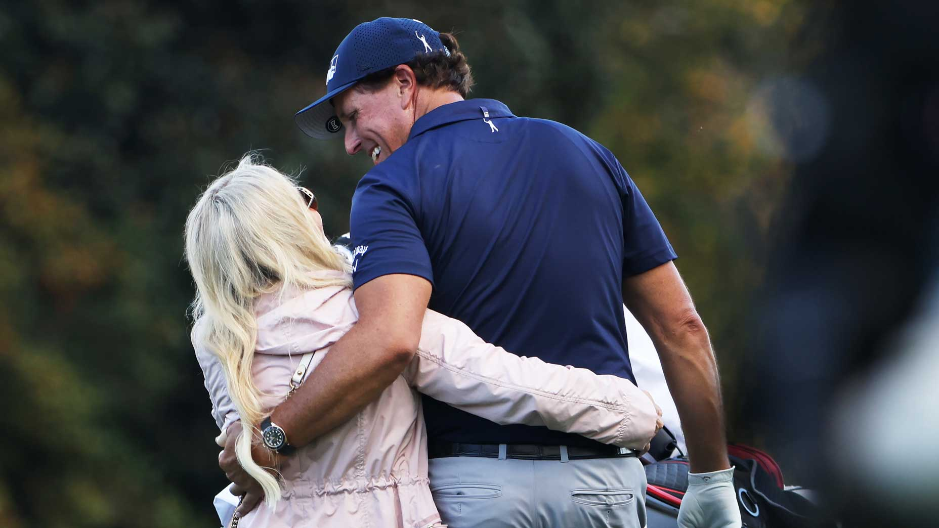 Amy and Phil Mickelson at the 2020 Masters.