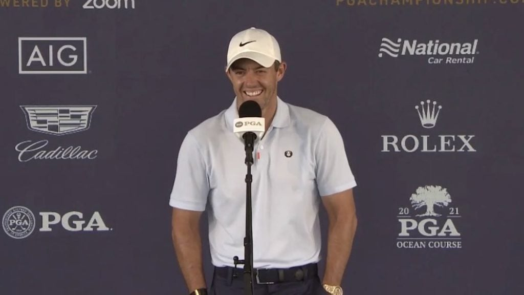 Rory McIlroy ended his PGA press conference in style.