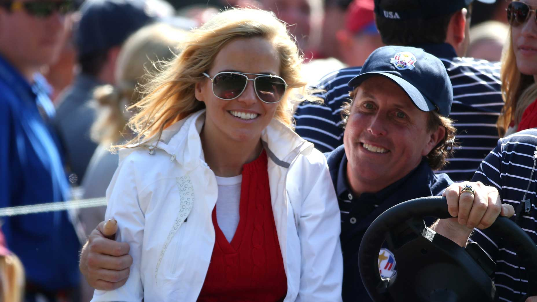 Amy and Phil Mickelson at the 2012 Ryder Cup.