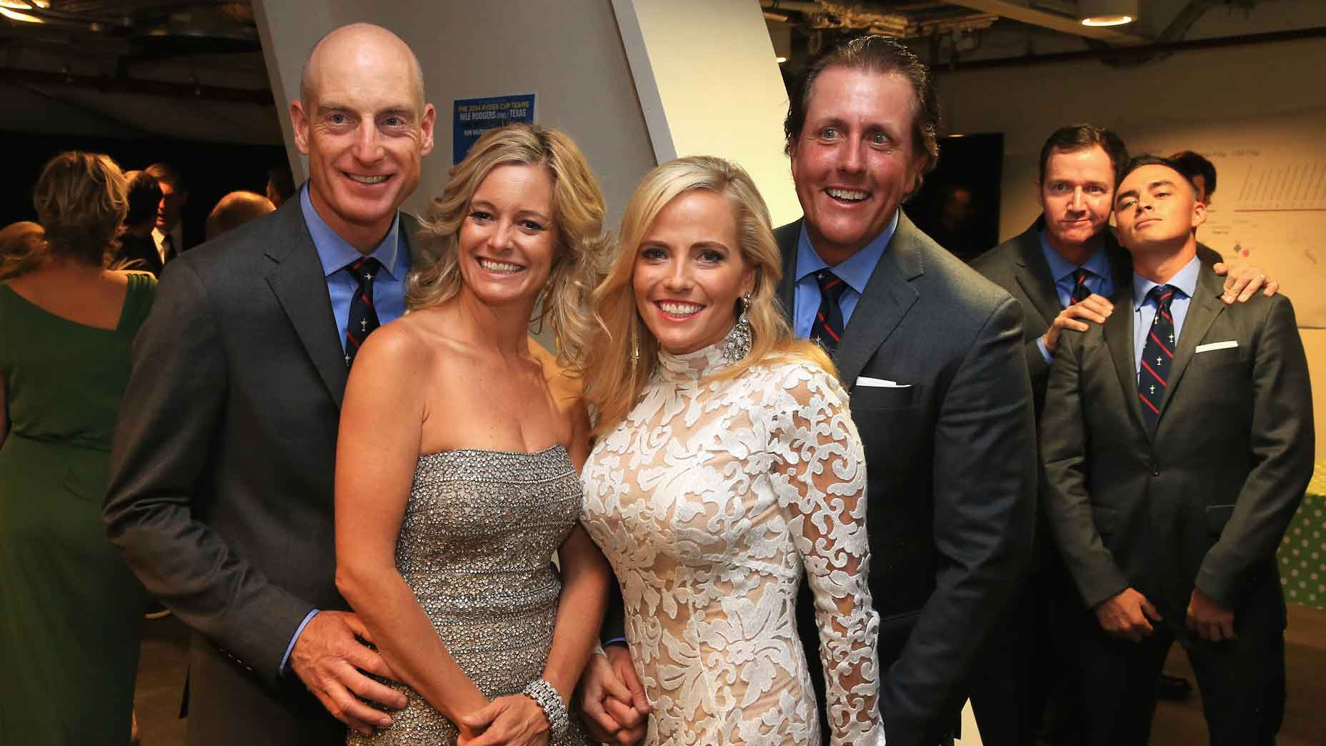 From left, Jim Furyk, Tabitha Furyk, Amy Mickelson, Phil Mickelson, Jimmy Walker and Rickie Fowler at the 2014 Ryder Cup.