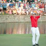 Keegan Bradley celebrates his 2011 PGA Championship win.