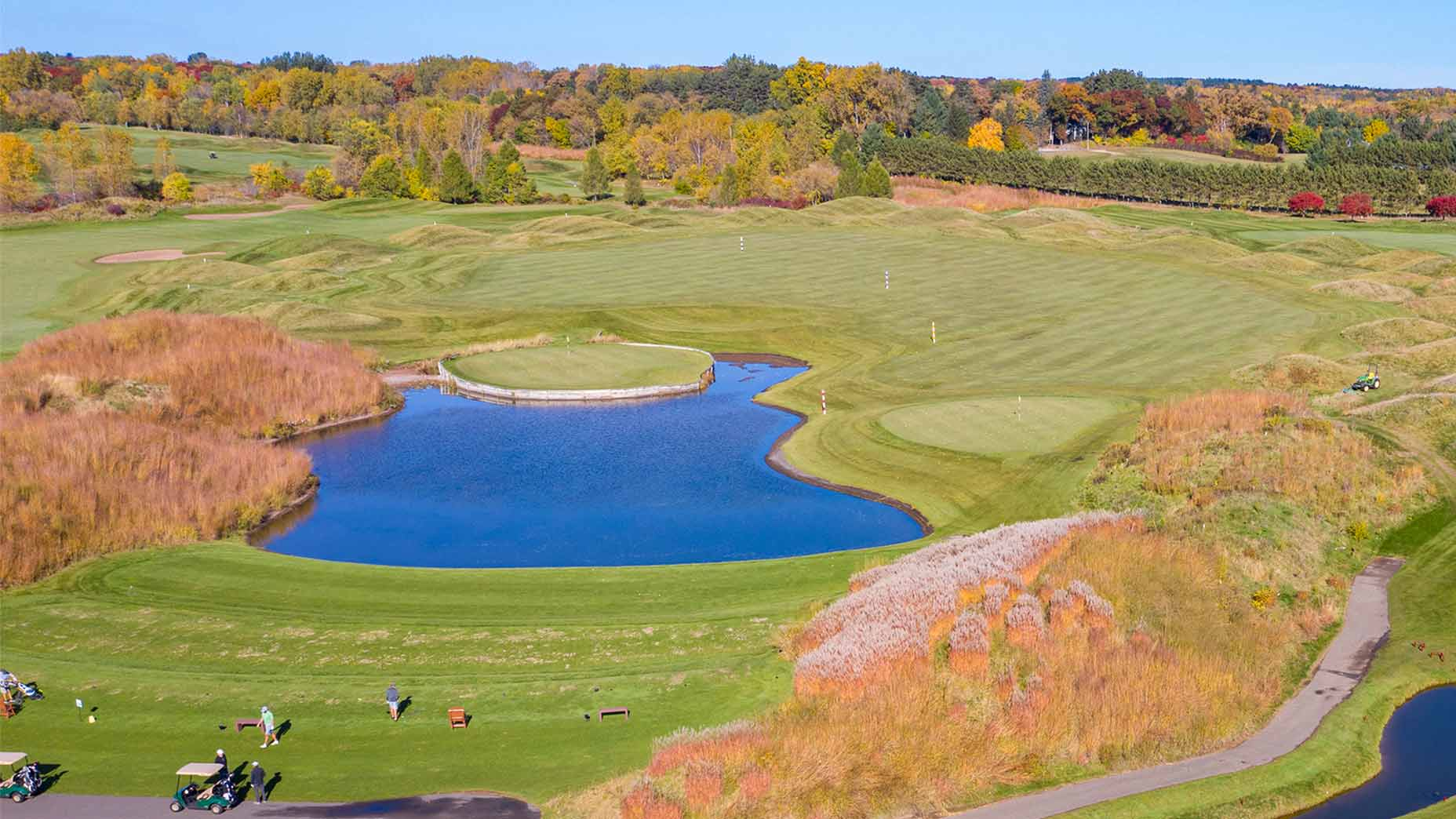The driving range at Loggers Trail in Stillwater, Minn.