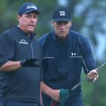 Phil mickelson and tom brady read a putt