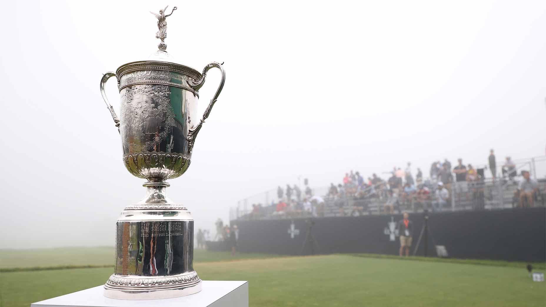 The 2021 U.S. Open trophy