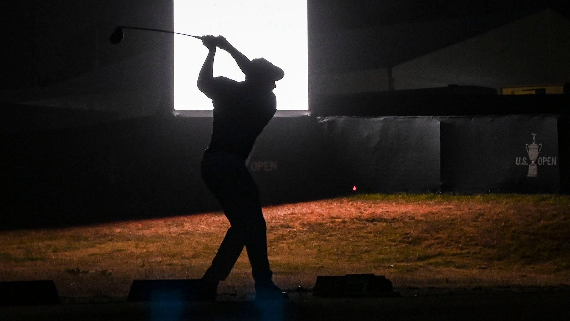 Bryson DeChambeau hit range balls well past dark on Thursday at the U.S. Open.