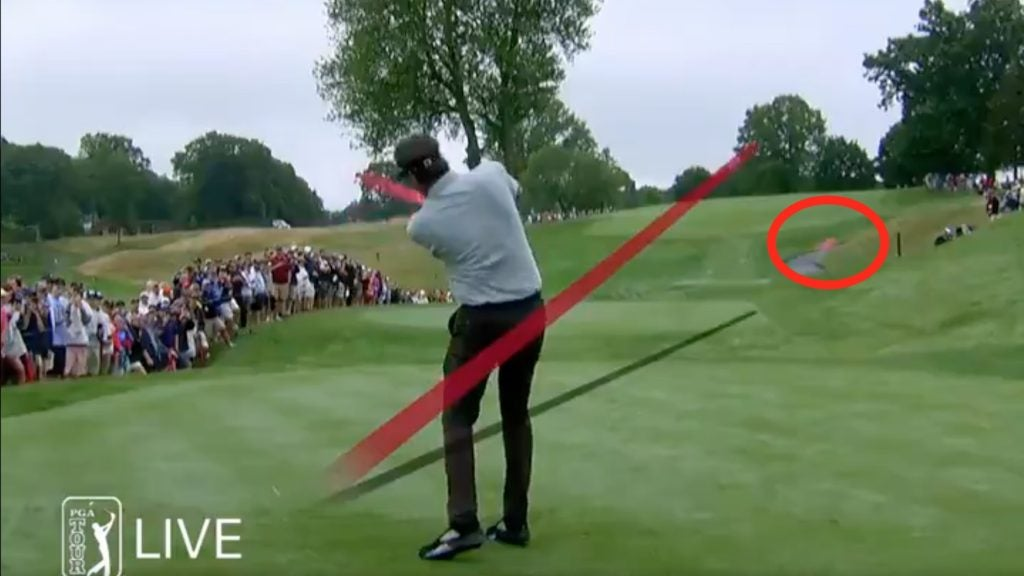 Bubba Watson's driver found the fairway at No. 2, despite snapping in two.