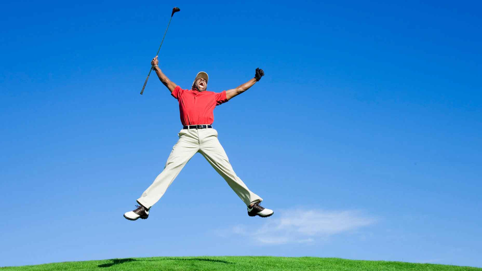 Leaping golfer