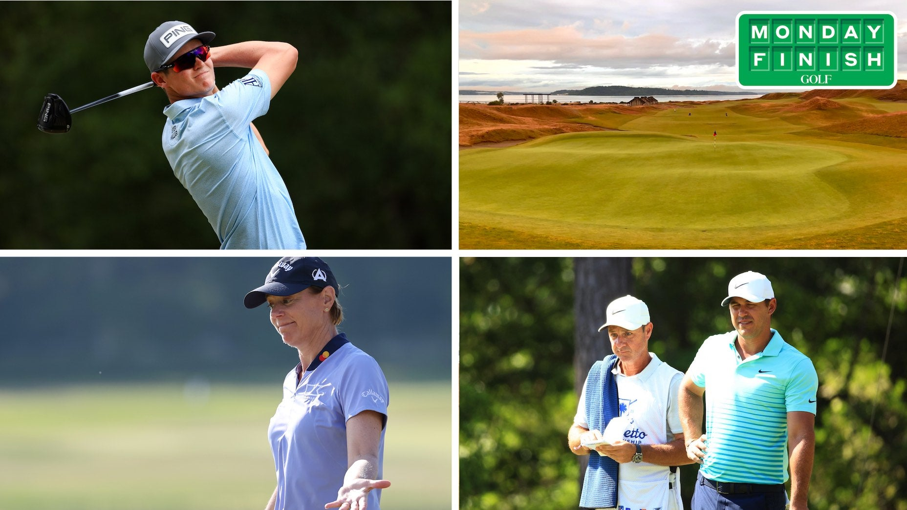 four pictures of golfers