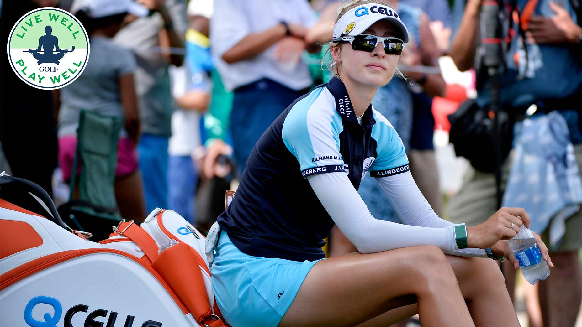 Nelly Korda looked unbothered waiting on the 16th tee despite making a stressful double bogey on No. 15.