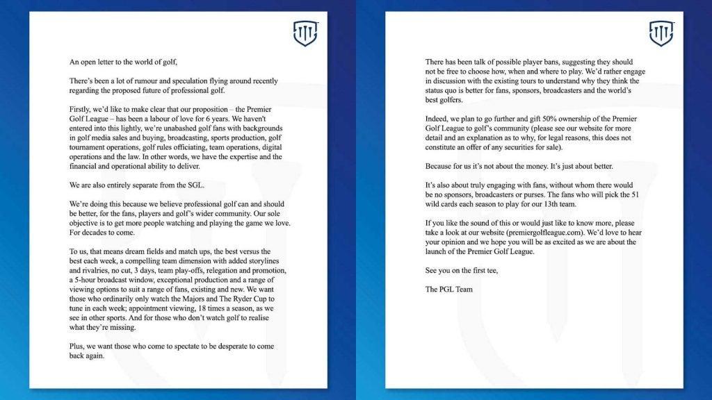 Premier Golf League letter