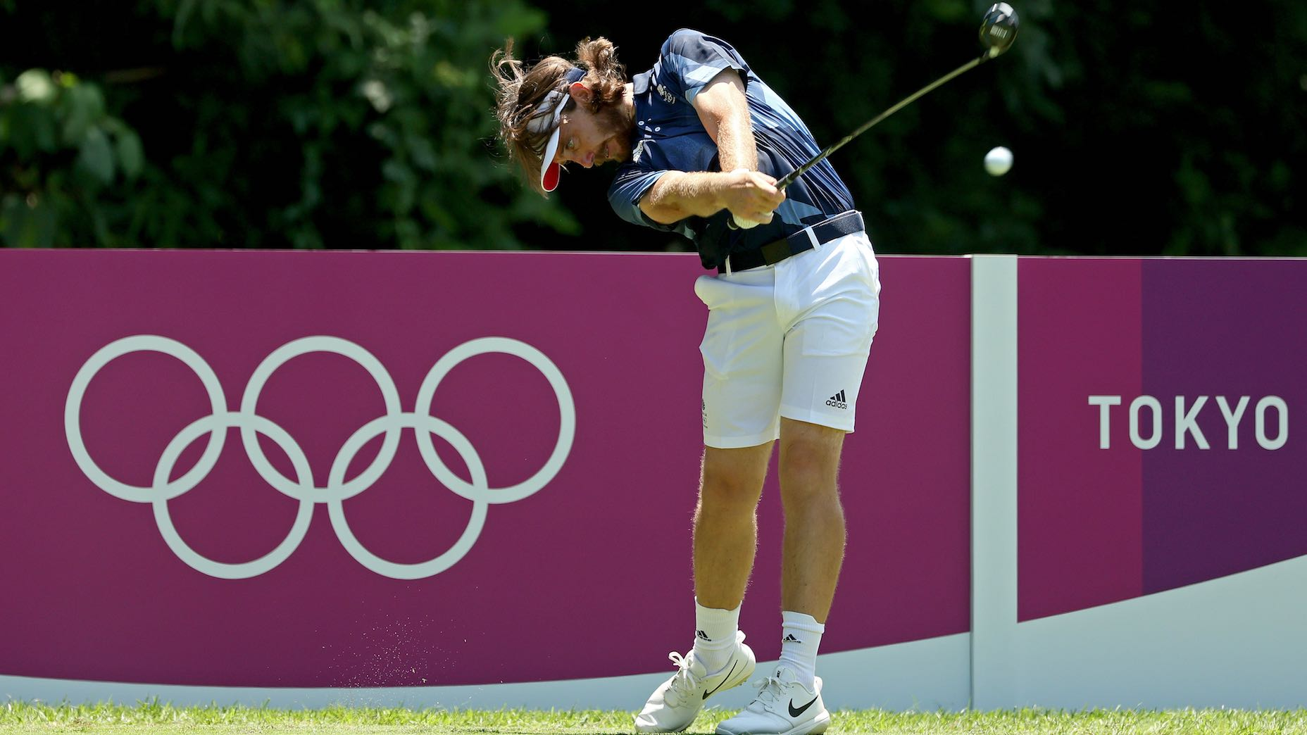 TOKYO, JAPAN - JULY 28: Tommy Fleetwood of team Great Brittain plays during a practice round at Kasumigaseki Country Club ahead of the Tokyo Olympic Games on July 28, 2021 in Tokyo, Japan. (Photo by Mike Ehrmann/Getty Images)