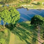 aerial shot of golf hole