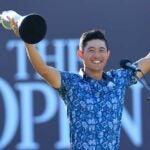 Collin Morikawa celebrates his 2021 British Open win.