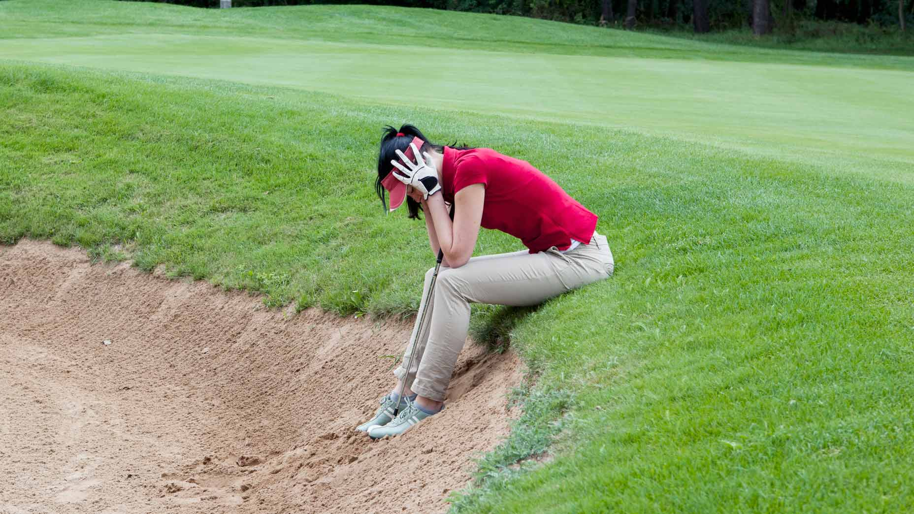 frustrated woman golfer