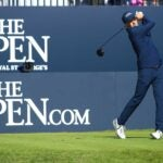 Jordan spieth hits a tee shot during day 1 of the british open.