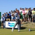 Louis Oosthuizen swings during Round 3 of the British Open.