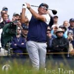 phil mickelson swings at the open championship.