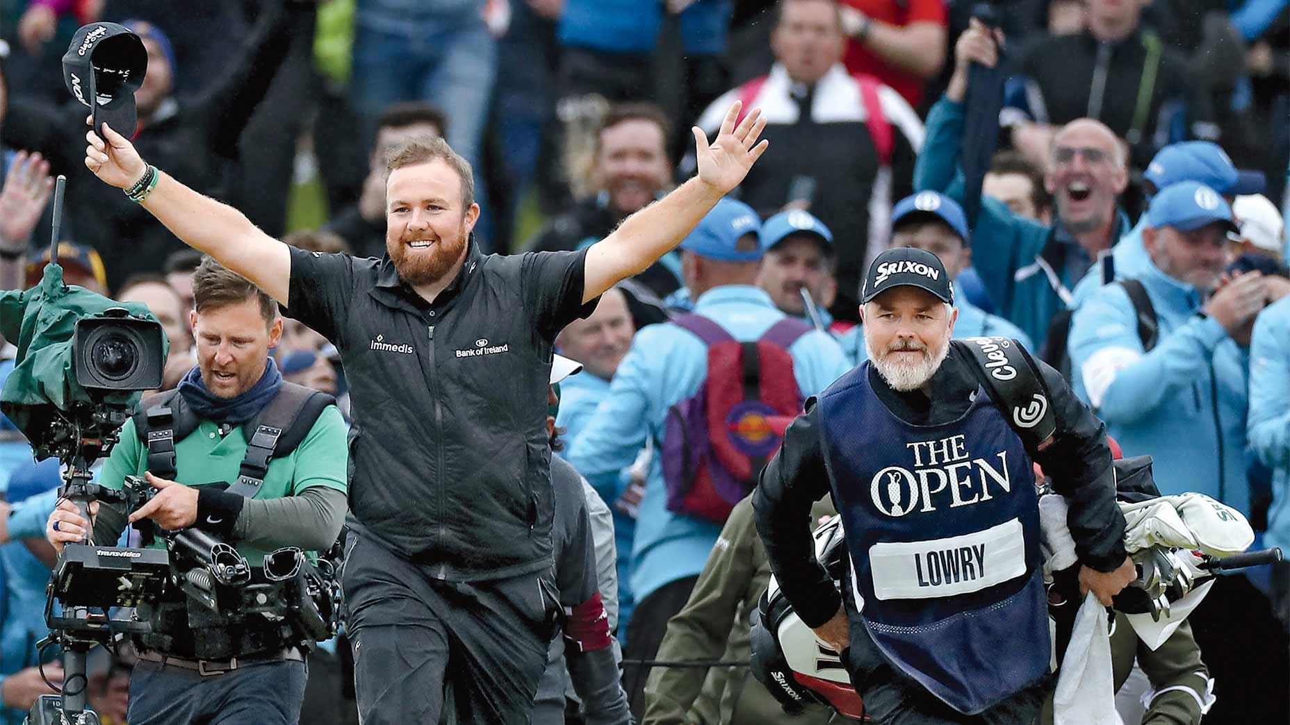 Shane Lowry celebrates winning the 2019 British Open.