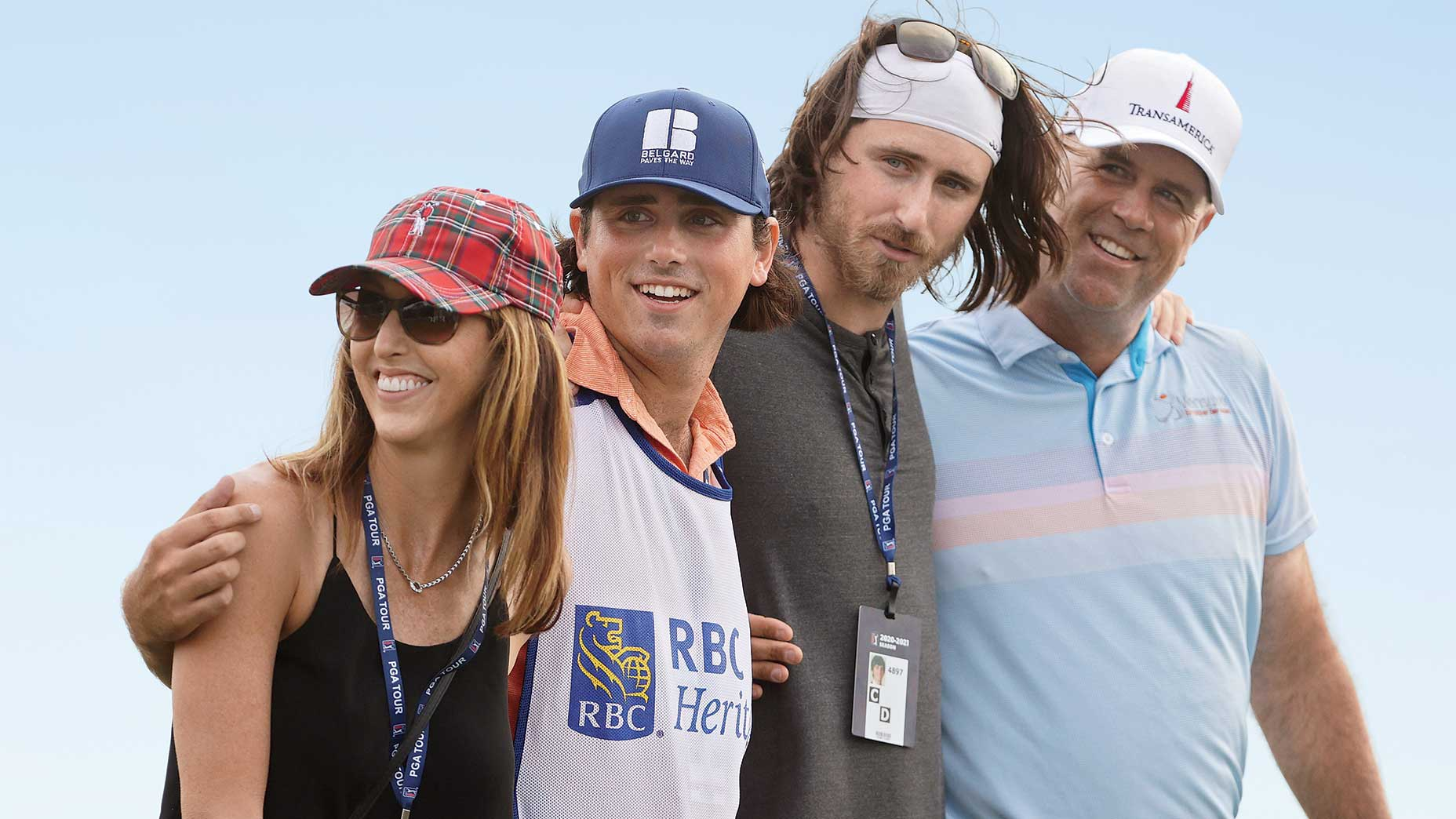 Stewart Cink celebrated his RBC Heritage win with wife, Lisa, and sons Reagan and Connor.