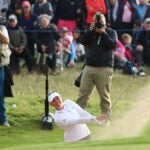 Nanna Koerstz Madsen hits out of the bunker on the 72nd hole of the AIG Women's Open.