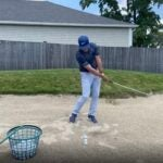 golf shot in sand bunker