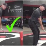 Golf instructor demonstrates early extension