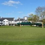 The 18th green at Merion golf club
