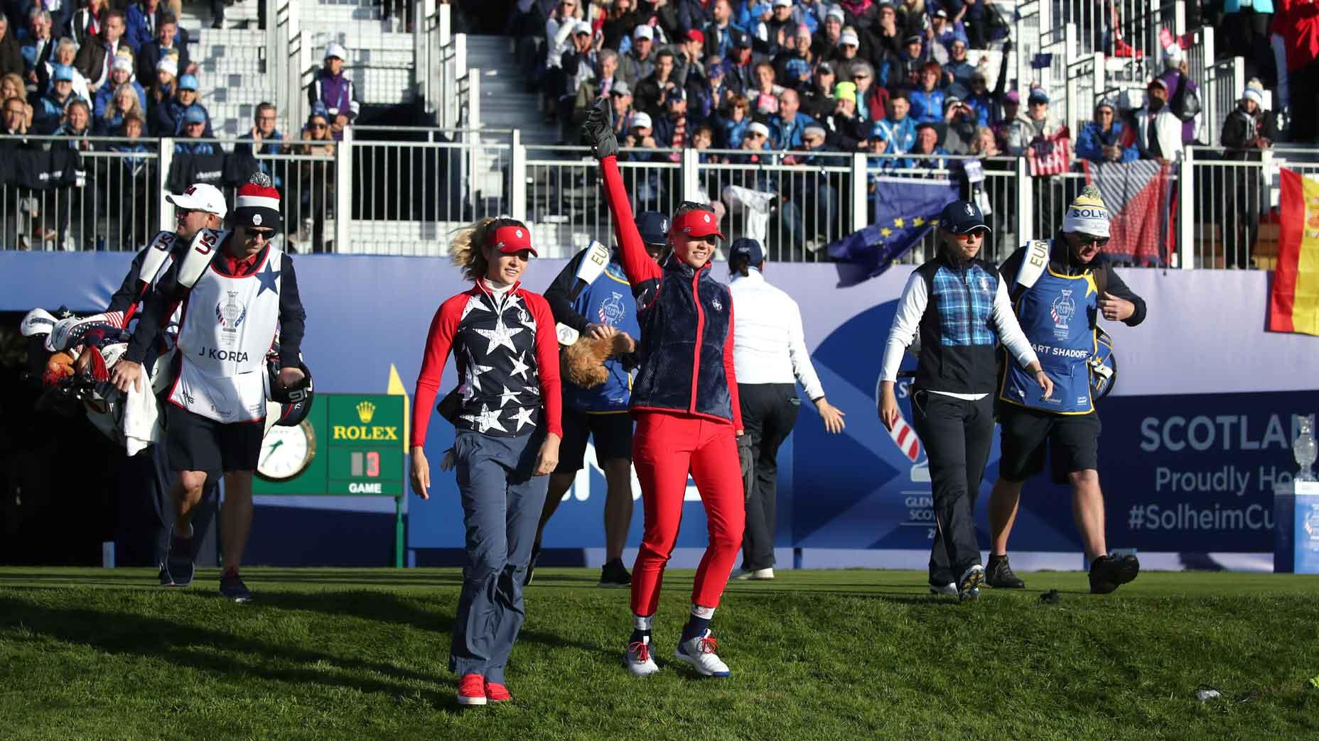 Nelly Korda et Jessica Korda à la Solheim Cup