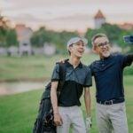 Golfers take selfie on golf course