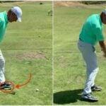 Golf instructor demonstrates dollar bill drill