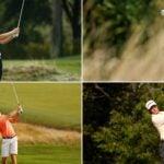 four golfers swing