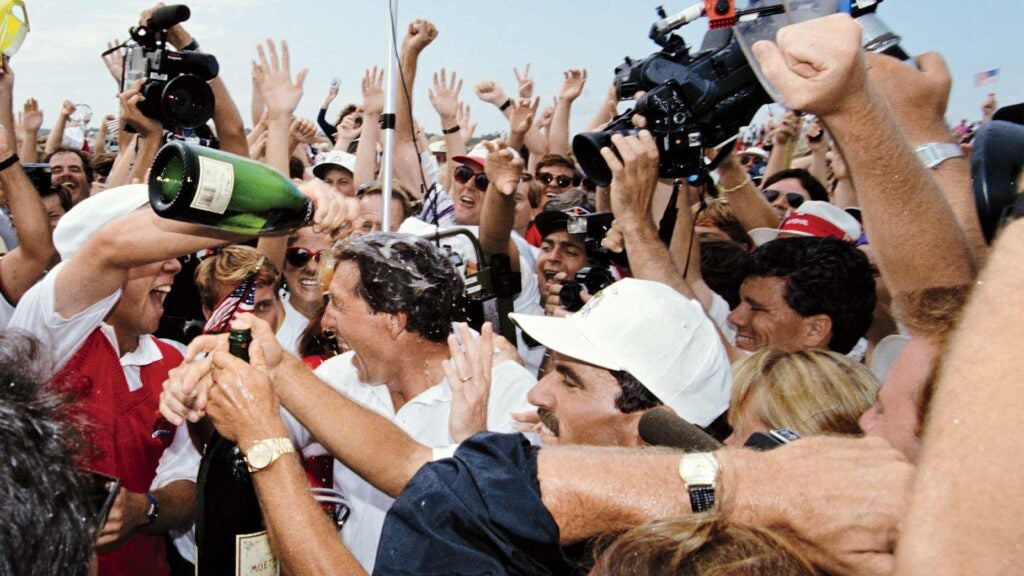 The U.S. celebrates winning the 1991 Ryder Cup.