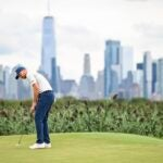 Daniel Berger at Liberty National in the first round of the FedEx Cup Playoffs.