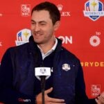 KOHLER, WISCONSIN - SEPTEMBER 22: Patrick Cantlay of team United States speaks to the media prior to the 43rd Ryder Cup at Whistling Straits on September 22, 2021 in Kohler, Wisconsin. (Photo by Mike Ehrmann/Getty Images)