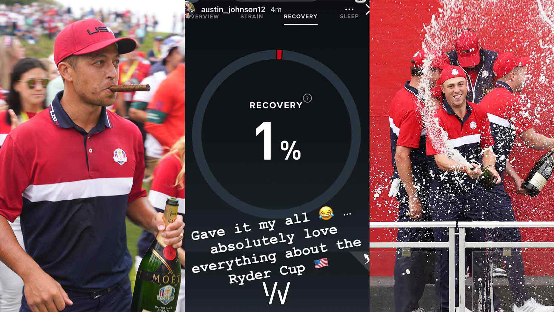 Austin Johnson's Whoop data reveals just how hard Team USA celebrated their Ryder Cup win.