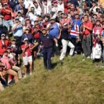 bryson dechambeau watches a shot at the ryder cup