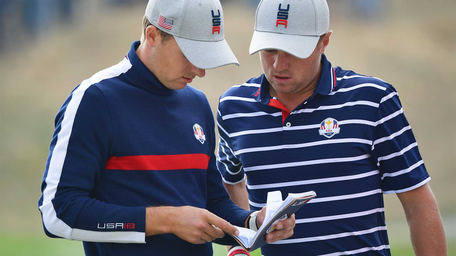 Justin Thomas and Jordan Spieth at the 2018 Ryder Cup.