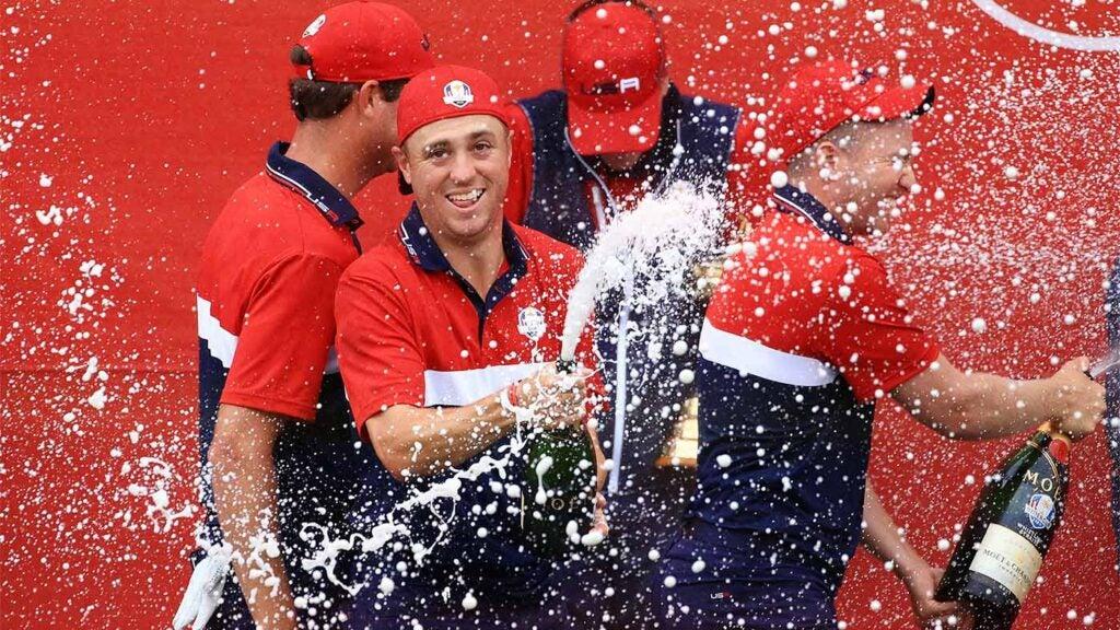 justin thomas celebrates ryder cup win