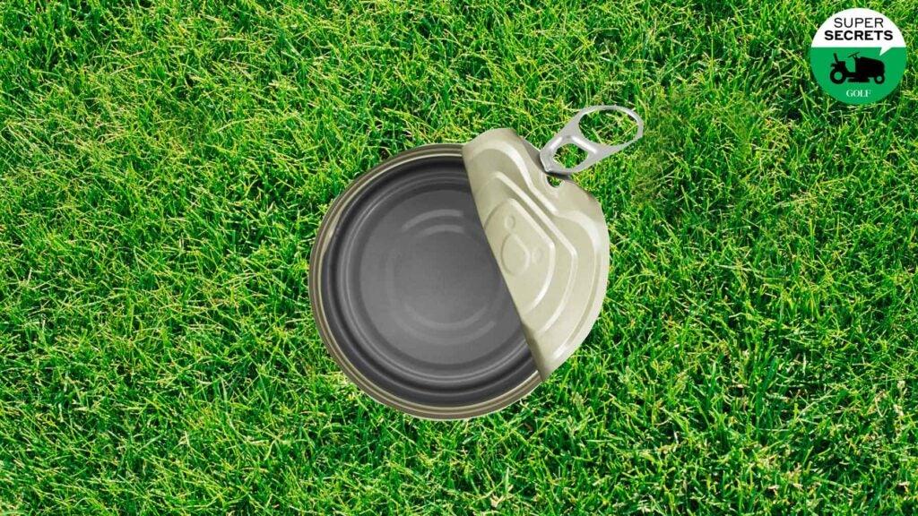 tuna can on lawn