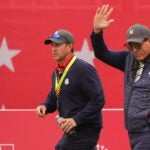 phil mickelson waves at the ryder cup.